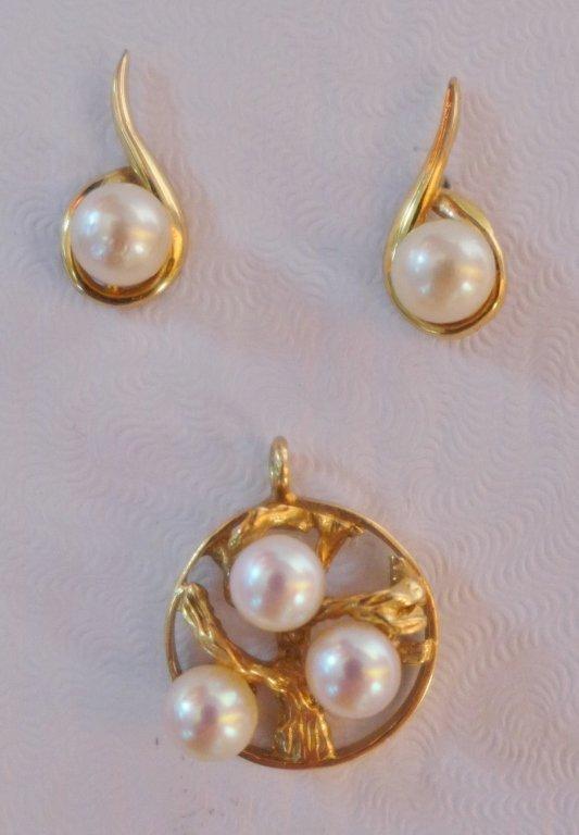 Gold & Pearl Tree of Life Pendant & Pearl Earrings - 2