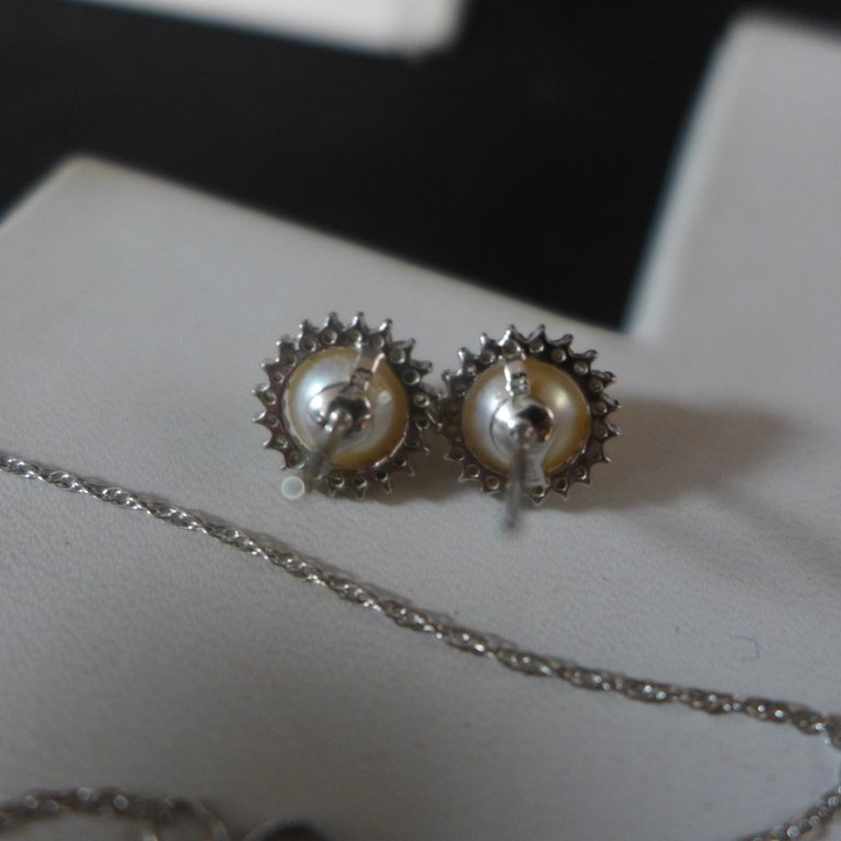 14 kt Gold, Diamond and Pearl Set - 6