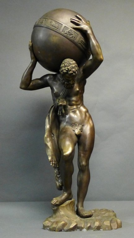 Bronze of Atlas Holding Zodiac Sphere