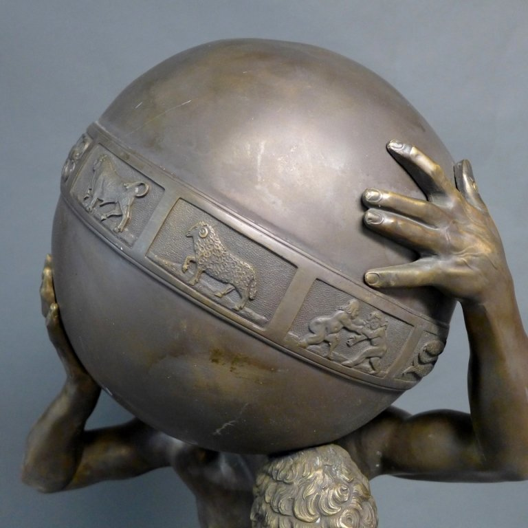 Bronze of Atlas Holding Zodiac Sphere - 2