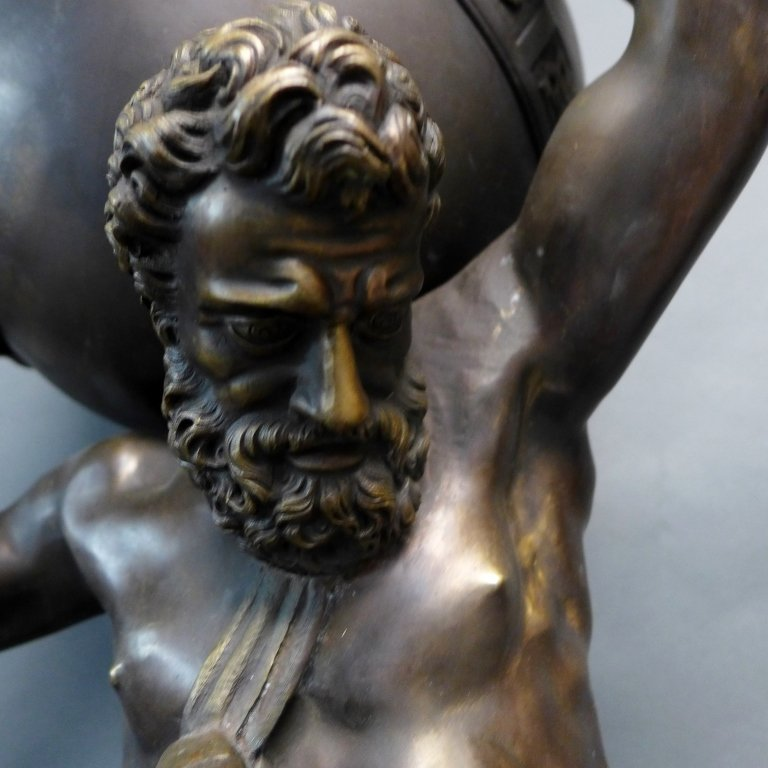 Bronze of Atlas Holding Zodiac Sphere - 3
