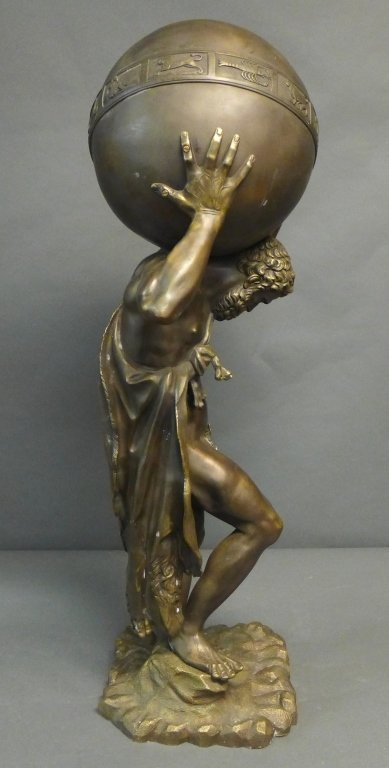 Bronze of Atlas Holding Zodiac Sphere - 5
