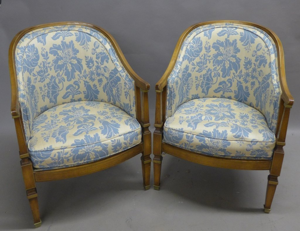 Upholstered Louis XVI Style Bergeres Arm Chairs