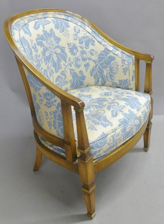 Upholstered Louis XVI Style Bergeres Arm Chairs - 2