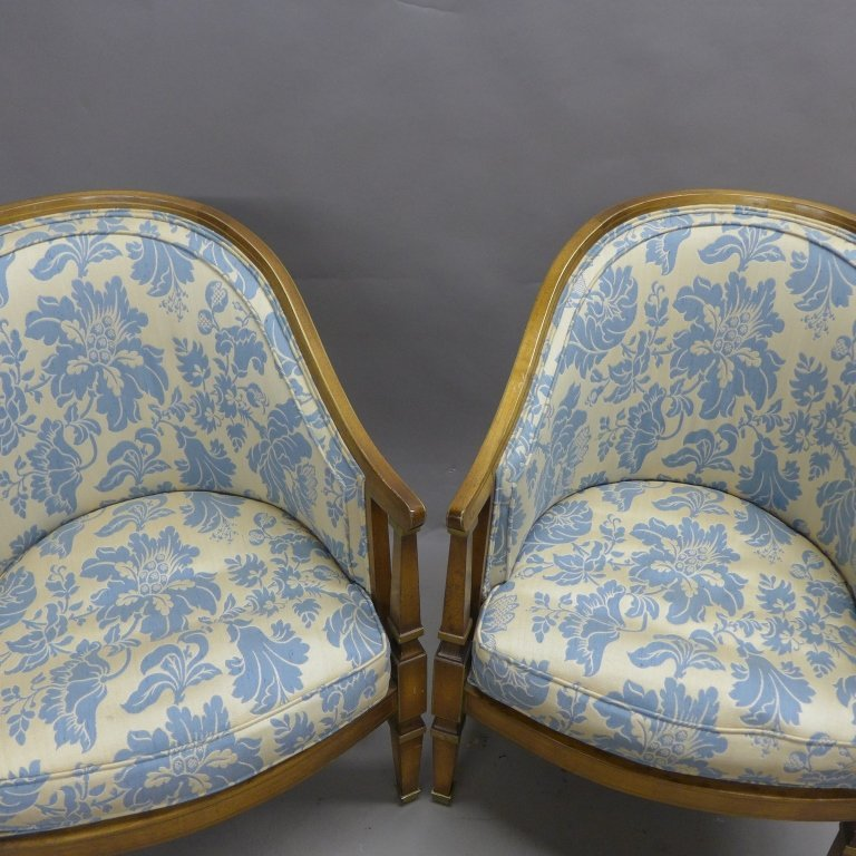 Upholstered Louis XVI Style Bergeres Arm Chairs - 7
