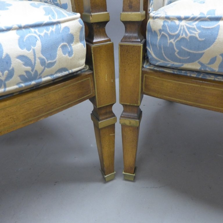 Upholstered Louis XVI Style Bergeres Arm Chairs - 8