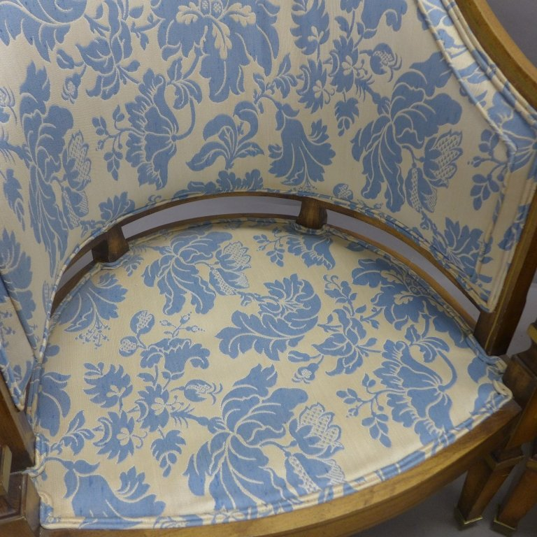 Upholstered Louis XVI Style Bergeres Arm Chairs - 9