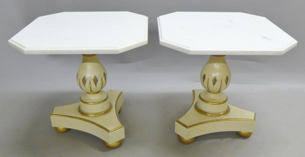 Pair Marble Top and Painted Wood End Tables
