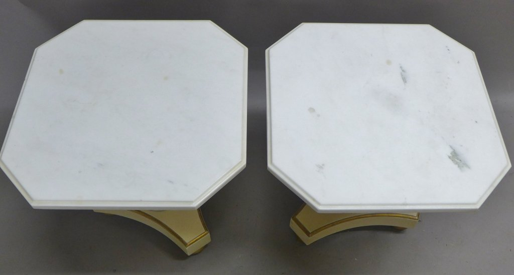 Pair Marble Top and Painted Wood End Tables - 2
