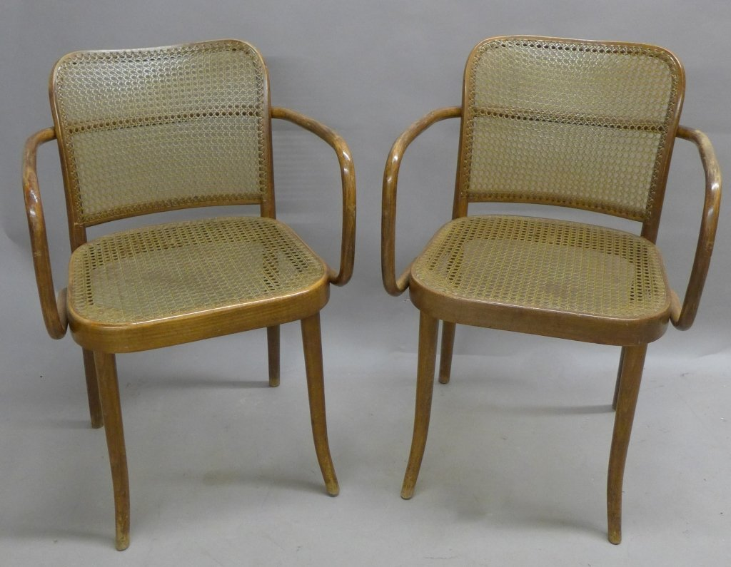 Pair Ligna (Czechoslovakia) Bentwood Chairs