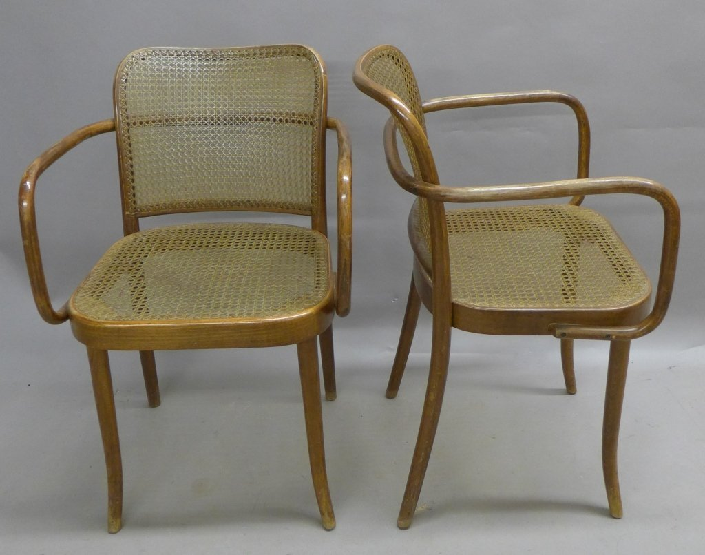Pair Ligna (Czechoslovakia) Bentwood Chairs - 4