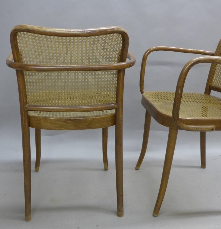 Pair Ligna (Czechoslovakia) Bentwood Chairs - 5
