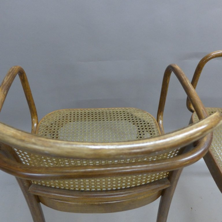 Pair Ligna (Czechoslovakia) Bentwood Chairs - 6