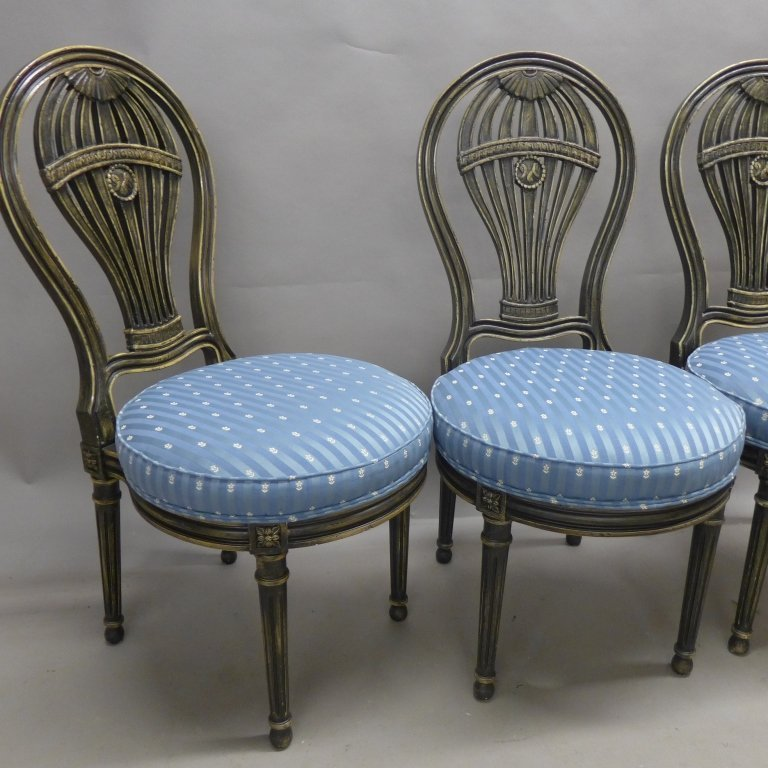 Set of Balloon Form Dining Chairs - 6