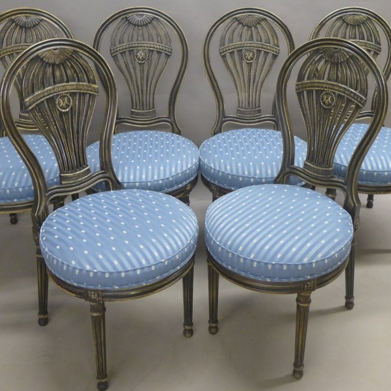 Set of Balloon Form Dining Chairs - 8
