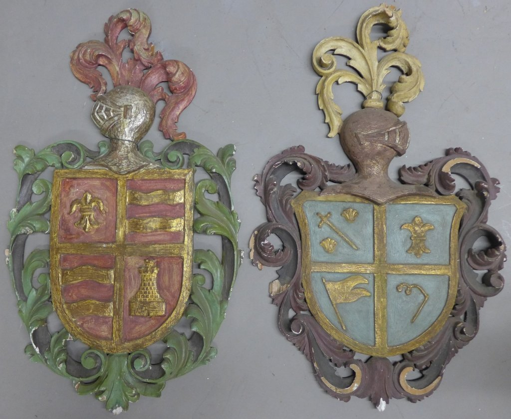 19th C Carved Wood Shield Crests