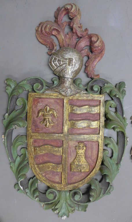 19th C Carved Wood Shield Crests - 2