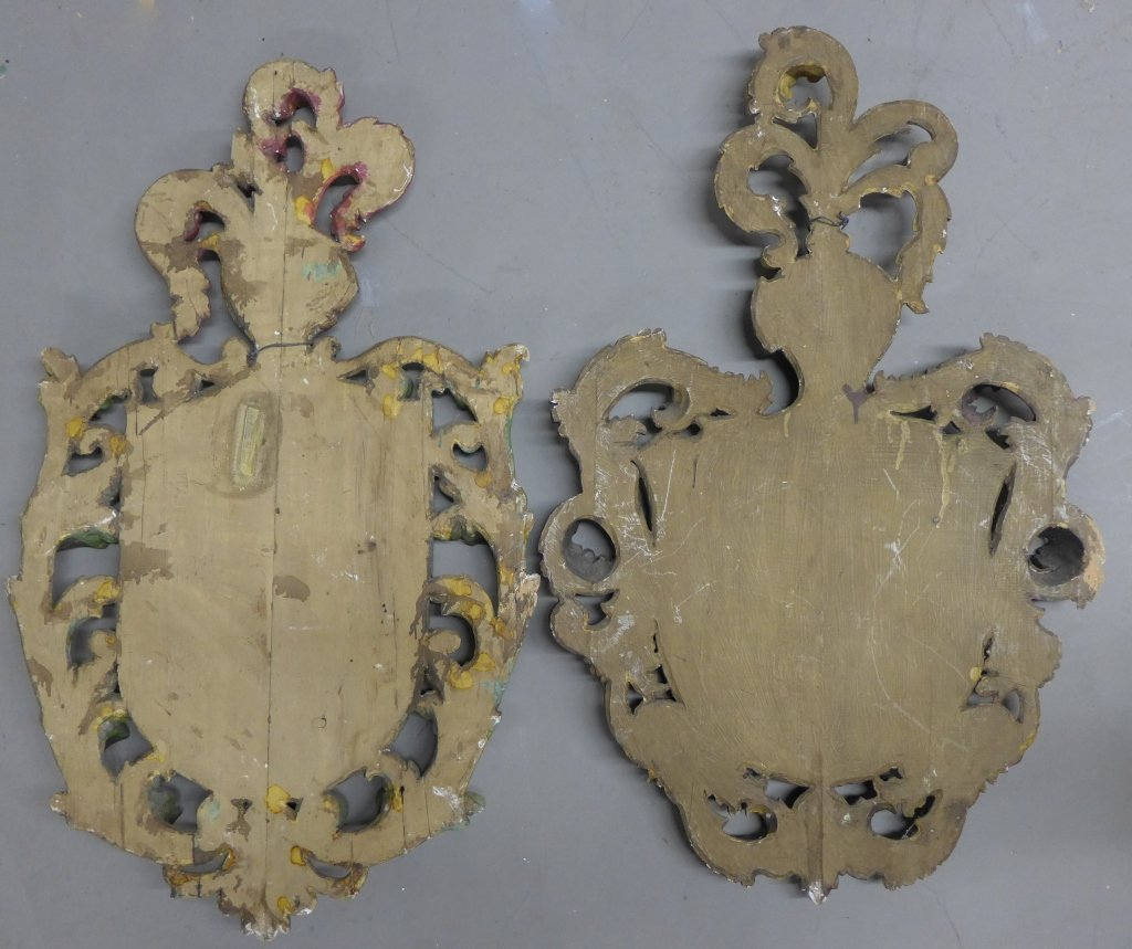 19th C Carved Wood Shield Crests - 7