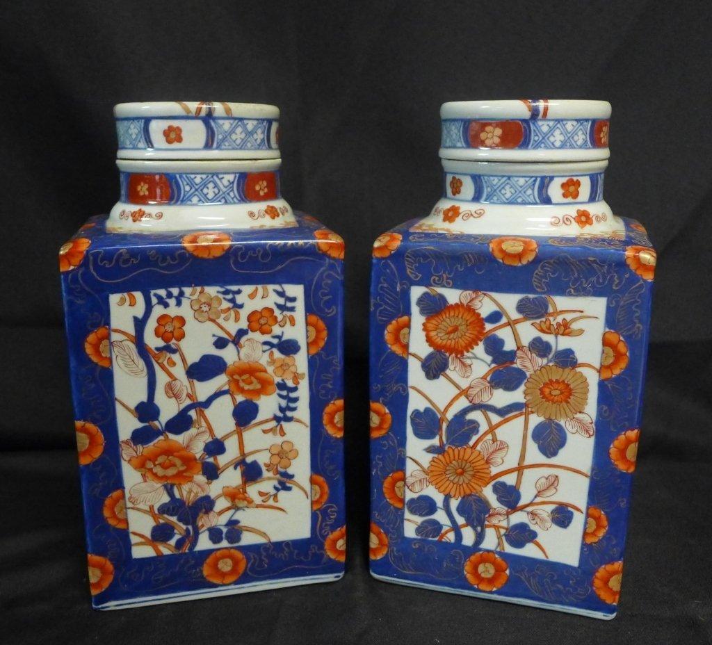 Pair Imari Square Tea Caddie