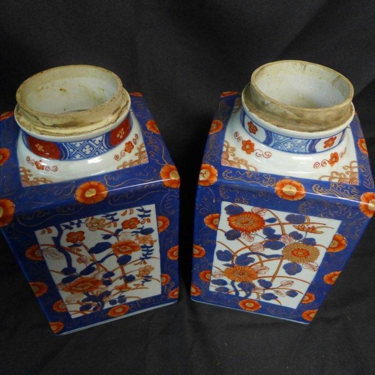 Pair Imari Square Tea Caddie - 4