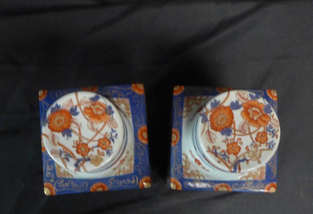 Pair Imari Square Tea Caddie - 6