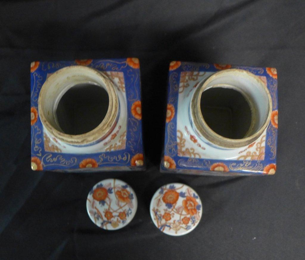 Pair Imari Square Tea Caddie - 7