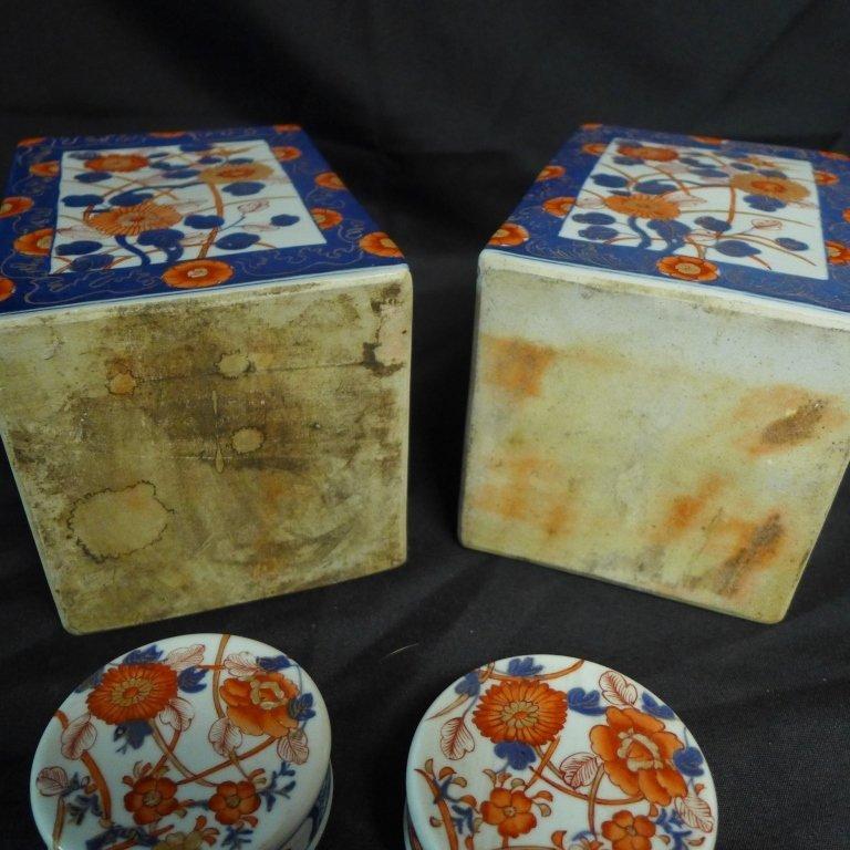 Pair Imari Square Tea Caddie - 8