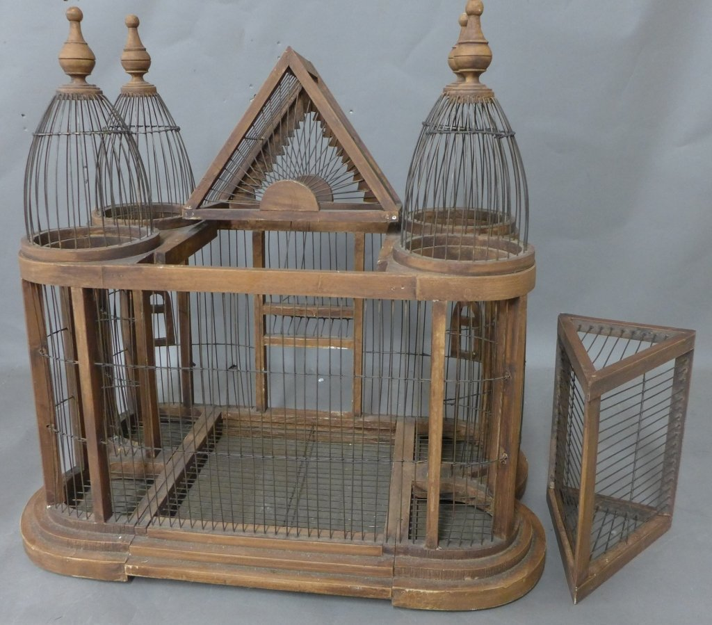 Large Victorian Style Wood & Wire Bird Cage - 10