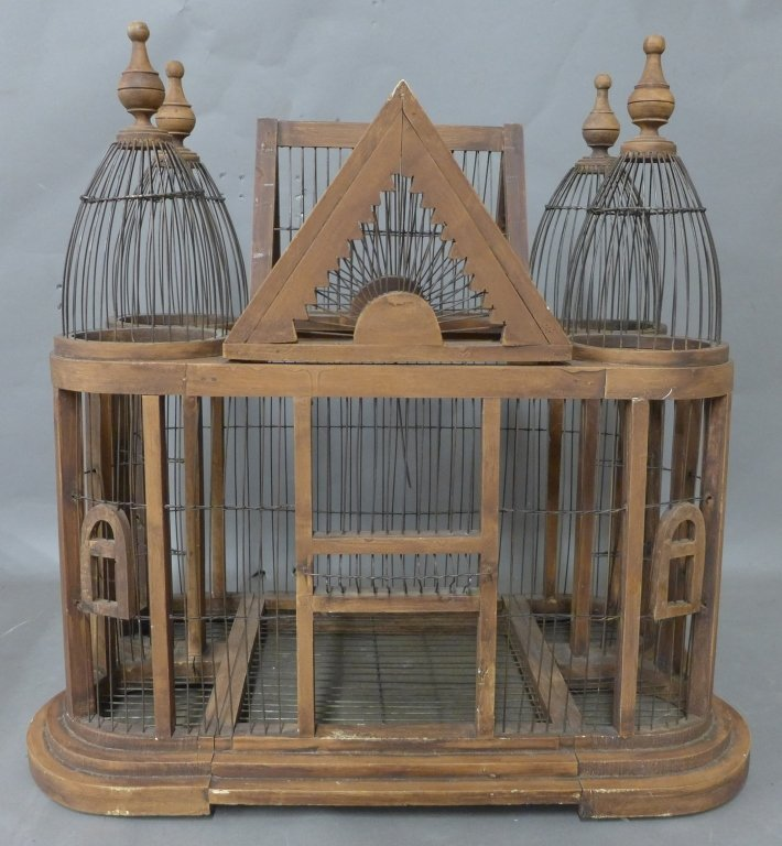 Large Victorian Style Wood & Wire Bird Cage