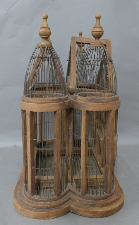 Large Victorian Style Wood & Wire Bird Cage - 3