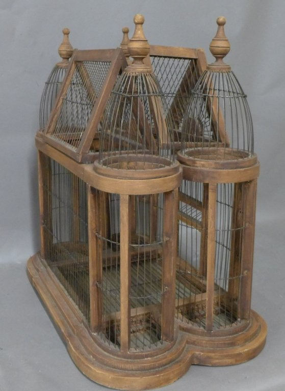 Large Victorian Style Wood & Wire Bird Cage - 4