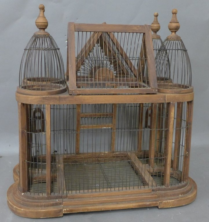 Large Victorian Style Wood & Wire Bird Cage - 5