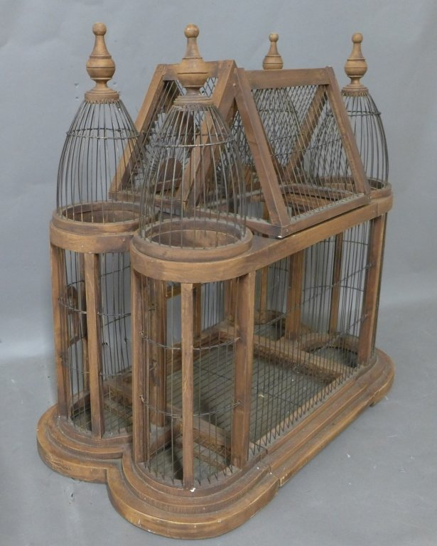 Large Victorian Style Wood & Wire Bird Cage - 6