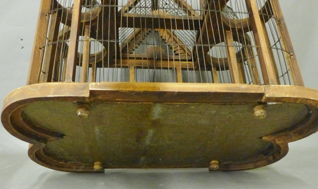 Large Victorian Style Wood & Wire Bird Cage - 7