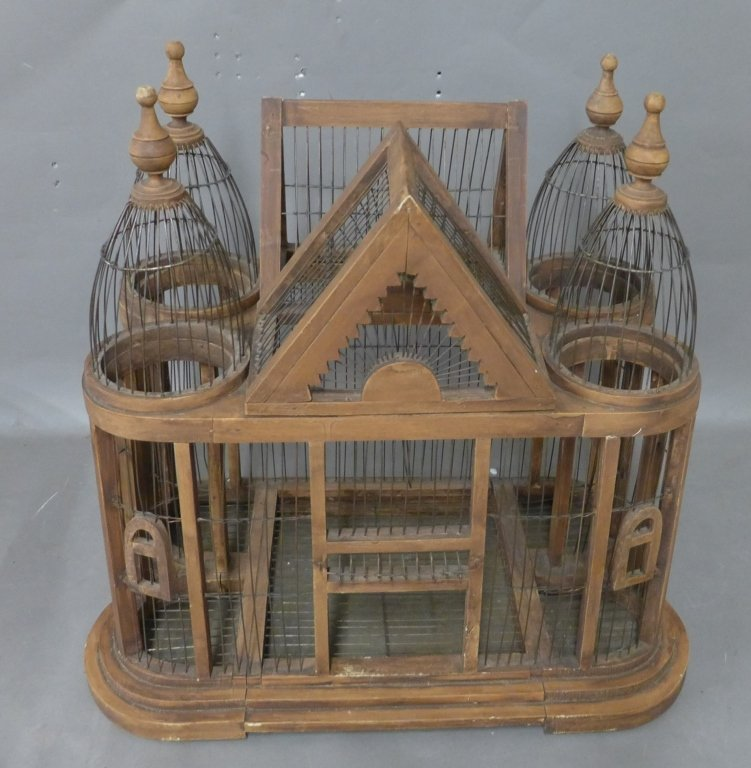 Large Victorian Style Wood & Wire Bird Cage - 8