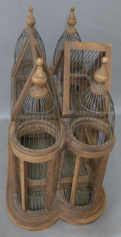 Large Victorian Style Wood & Wire Bird Cage - 9