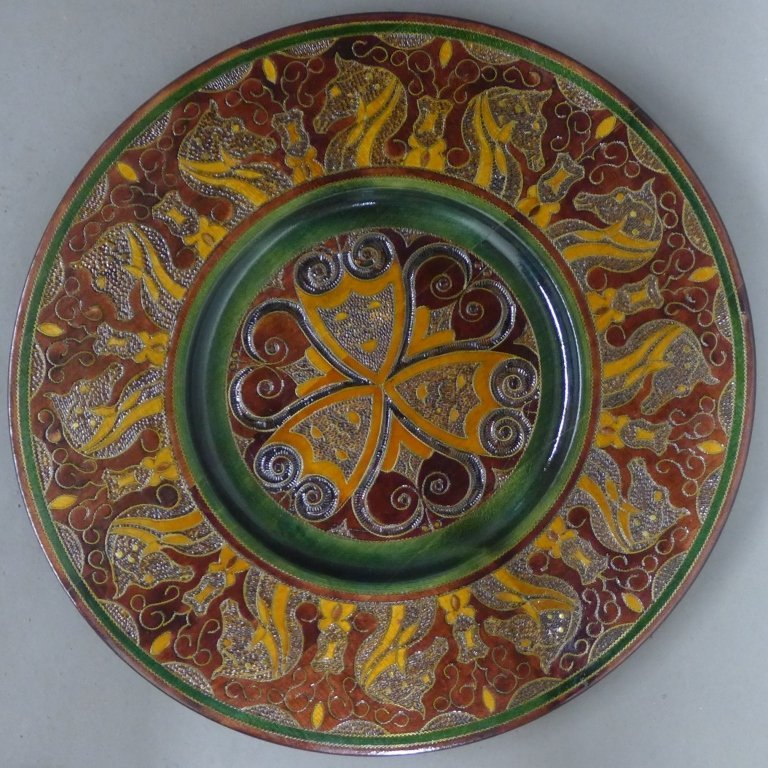 Hand Carved Wooden Polish Folk Art Plate