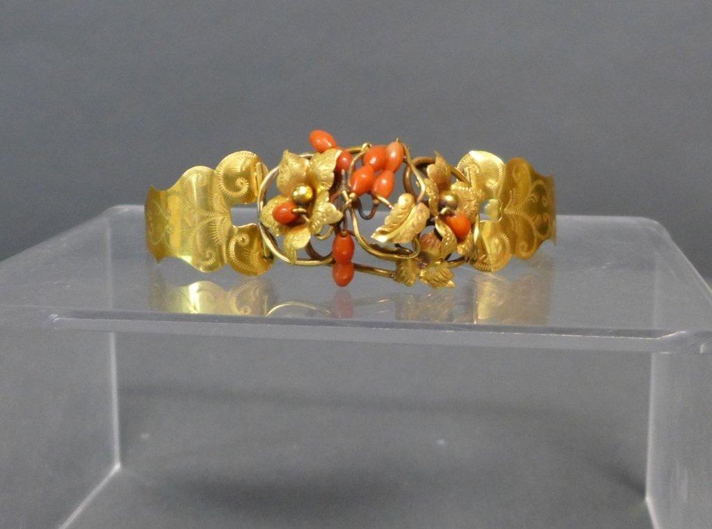 Gilt & Coral Antique Hinged Cuff Bracelet