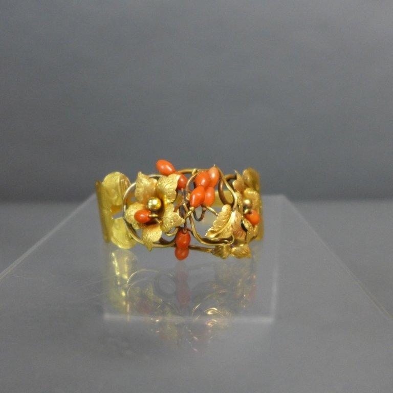Gilt & Coral Antique Hinged Cuff Bracelet - 2