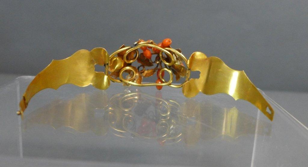 Gilt & Coral Antique Hinged Cuff Bracelet - 5