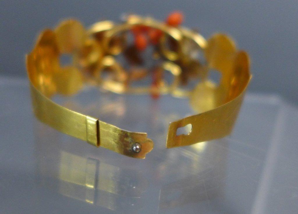 Gilt & Coral Antique Hinged Cuff Bracelet - 6