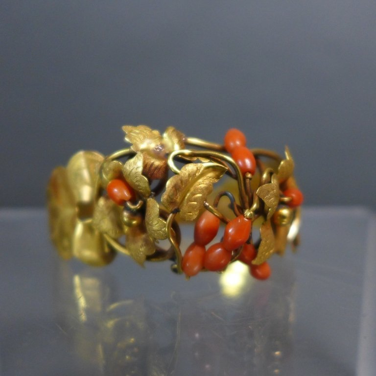 Gilt & Coral Antique Hinged Cuff Bracelet - 7