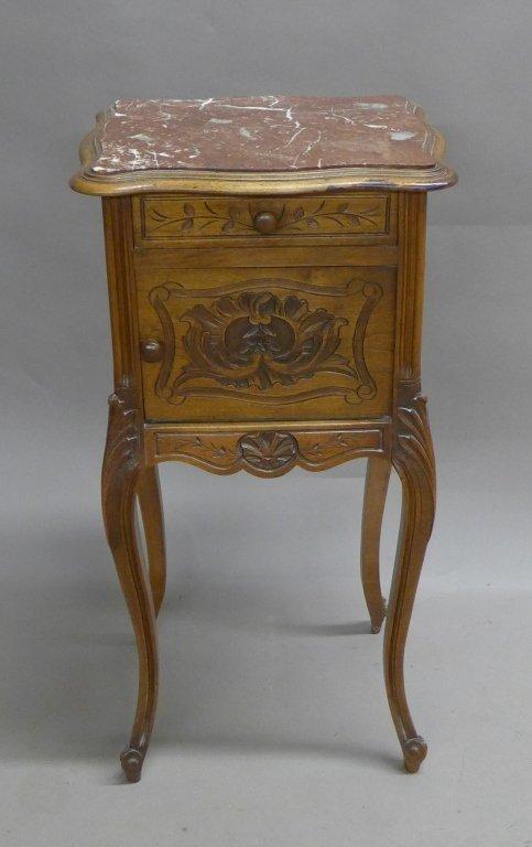 Antique Marble Top Nightstand - 2