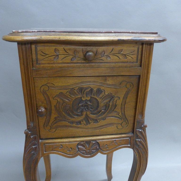 Antique Marble Top Nightstand - 3