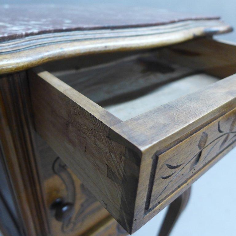 Antique Marble Top Nightstand - 4