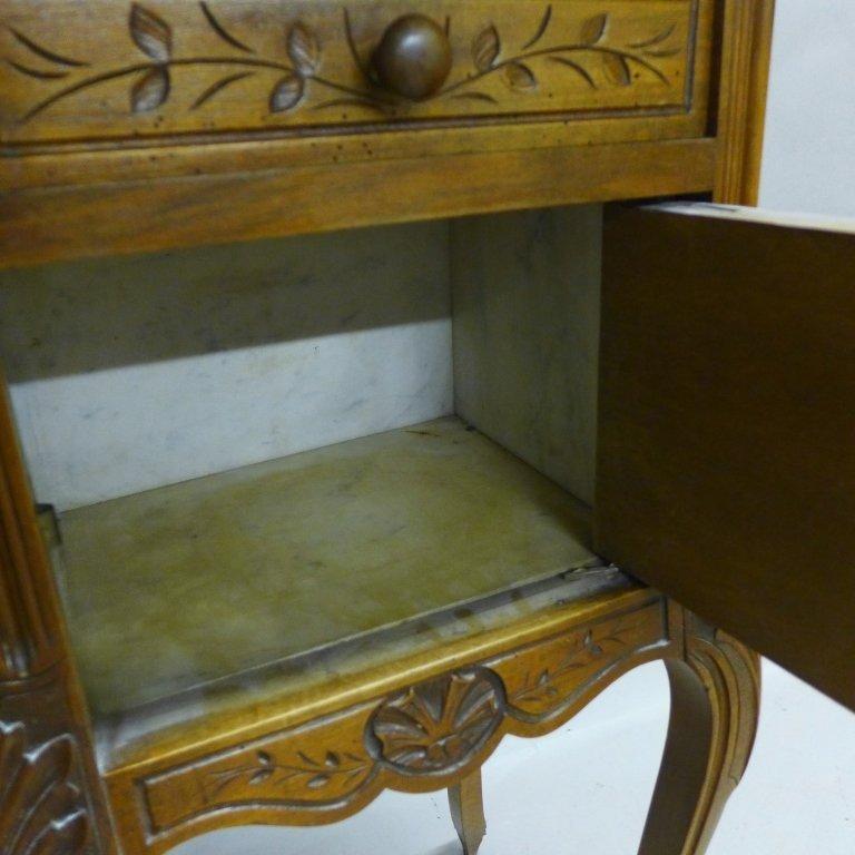 Antique Marble Top Nightstand - 5