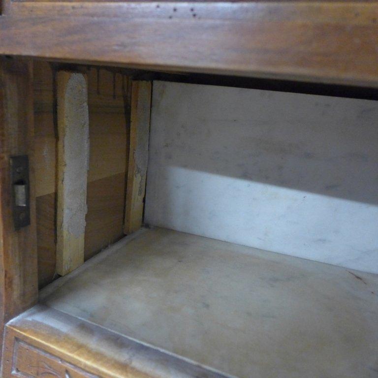 Antique Marble Top Nightstand - 6