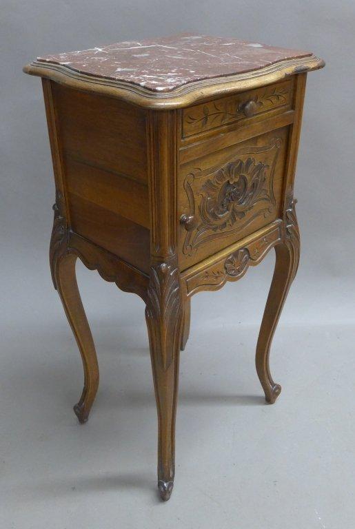 Antique Marble Top Nightstand - 8
