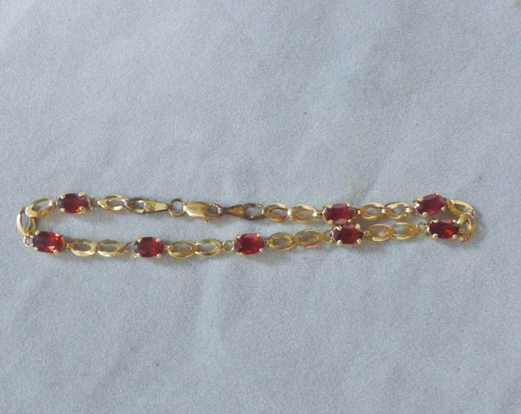 Gold & Ruby Designer Tennis Bracelet - 10