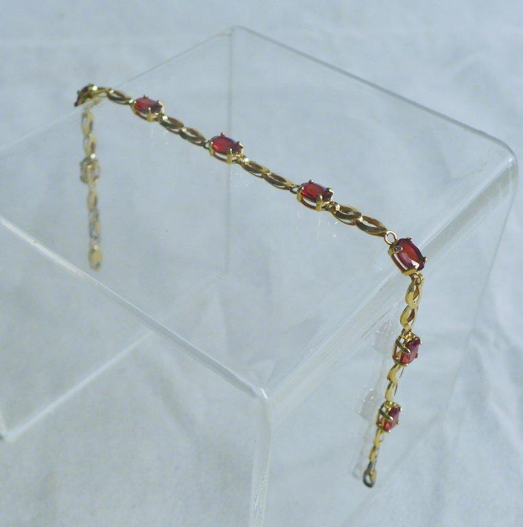 Gold & Ruby Designer Tennis Bracelet - 2